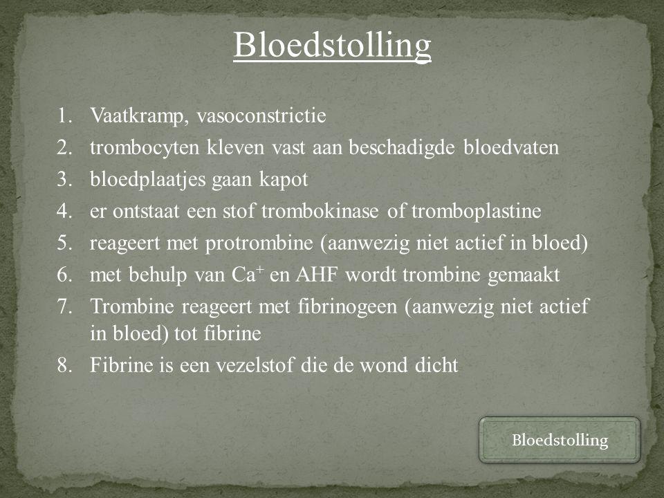 Bloedstolling Vaatkramp, vasoconstrictie