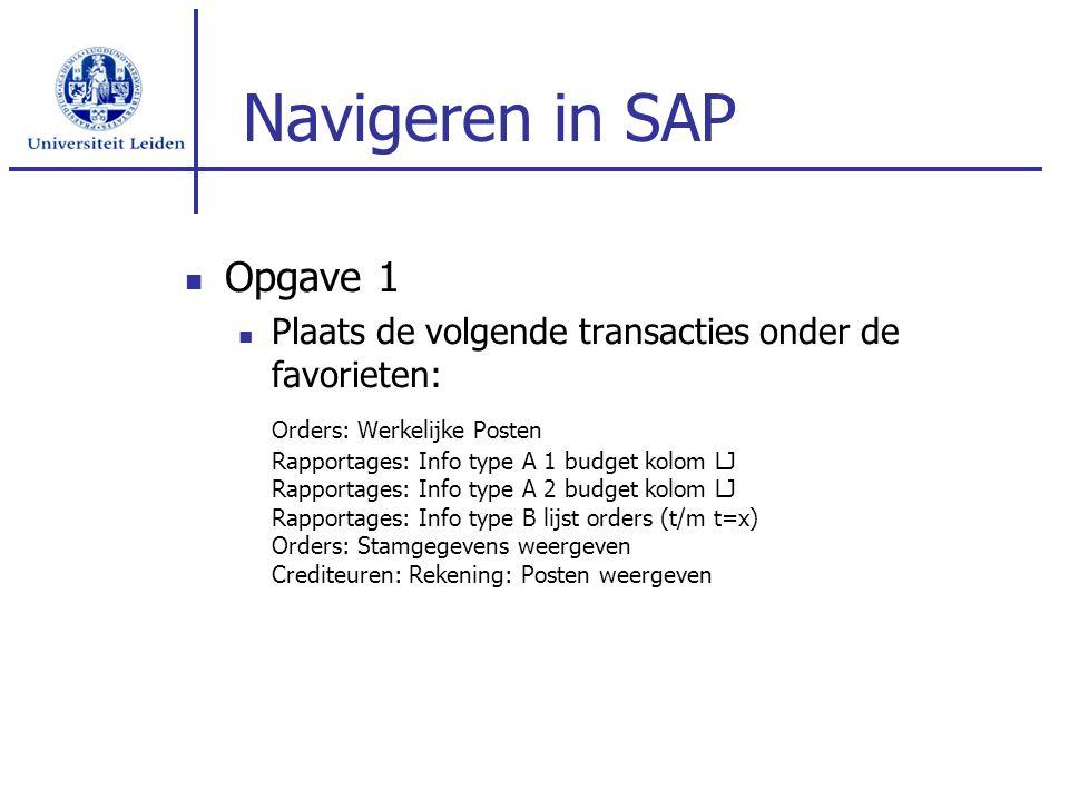 Navigeren in SAP Opgave 1