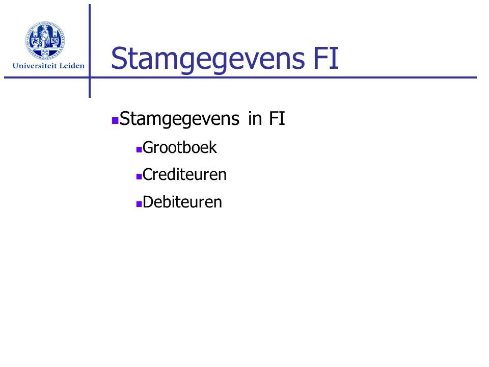 Stamgegevens FI Stamgegevens in FI Grootboek Crediteuren Debiteuren