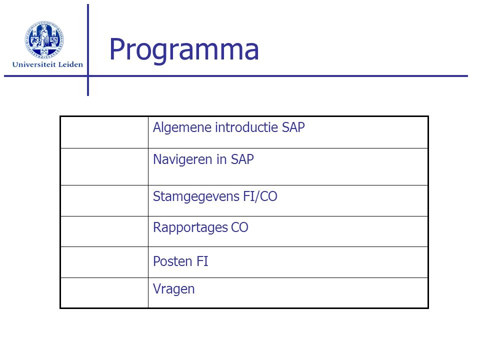 Programma Algemene introductie SAP Navigeren in SAP Stamgegevens FI/CO