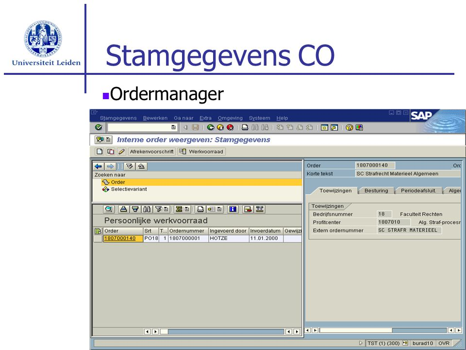 Stamgegevens CO Ordermanager