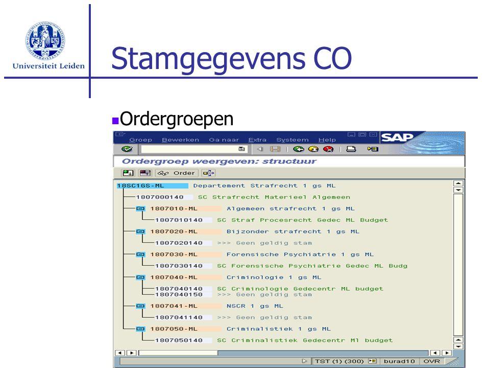 Stamgegevens CO Ordergroepen