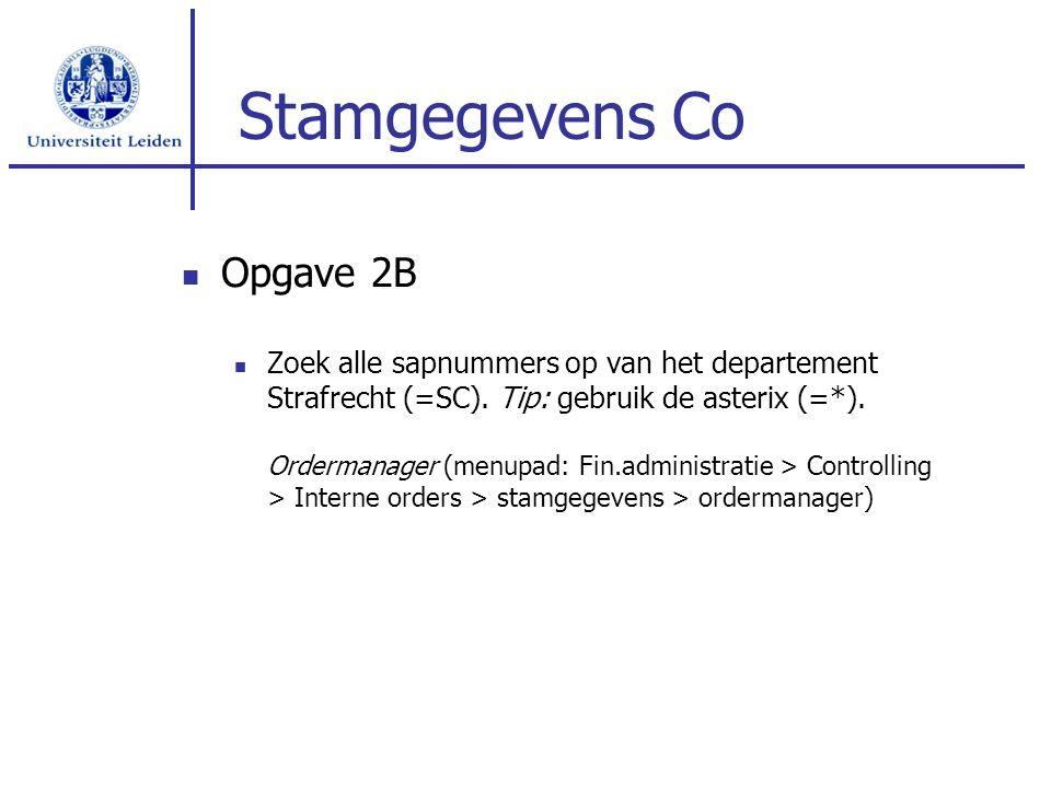 Stamgegevens Co Opgave 2B