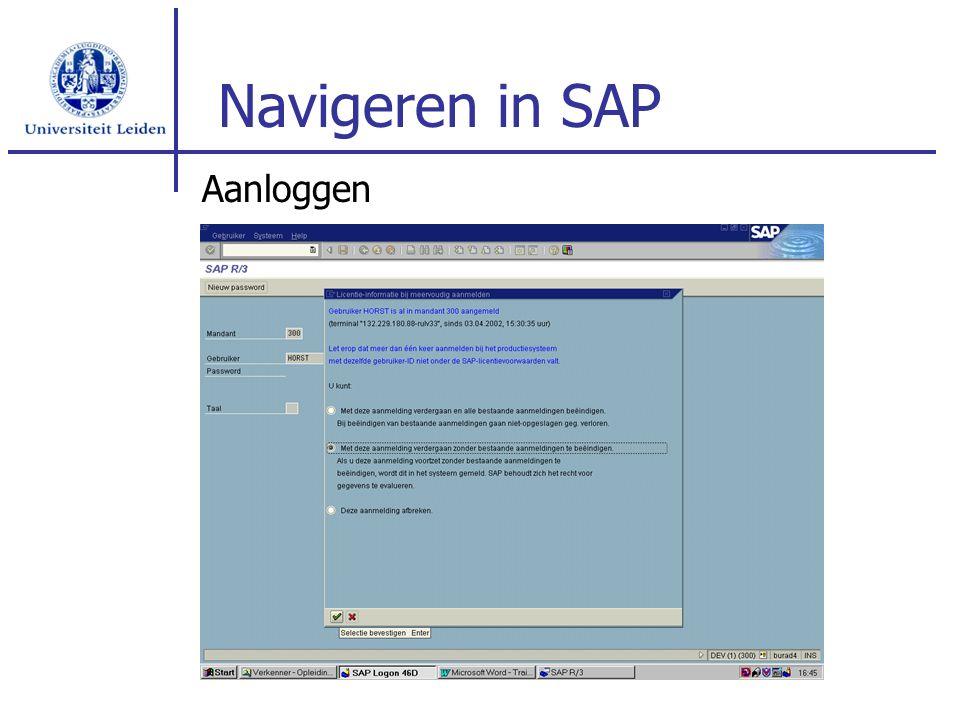 Navigeren in SAP Aanloggen