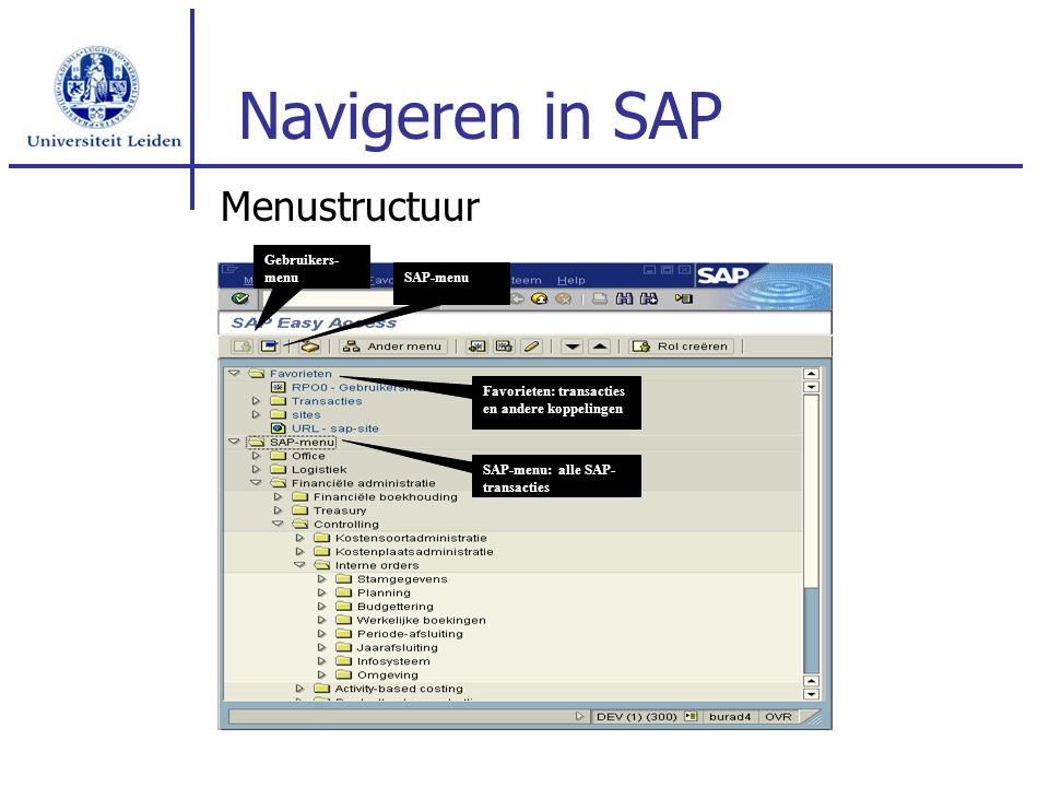 Navigeren in SAP Menustructuur Gebruikers- menu SAP-menu