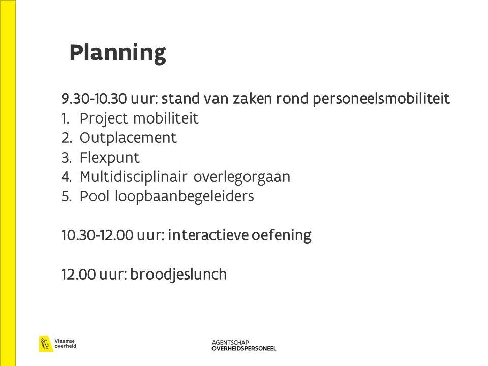 Planning 9.30-10.30 uur: stand van zaken rond personeelsmobiliteit