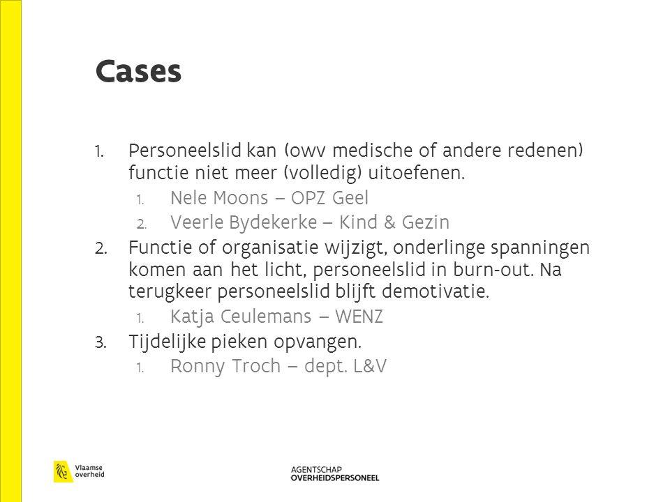 Cases Personeelslid kan (owv medische of andere redenen) functie niet meer (volledig) uitoefenen. Nele Moons – OPZ Geel.