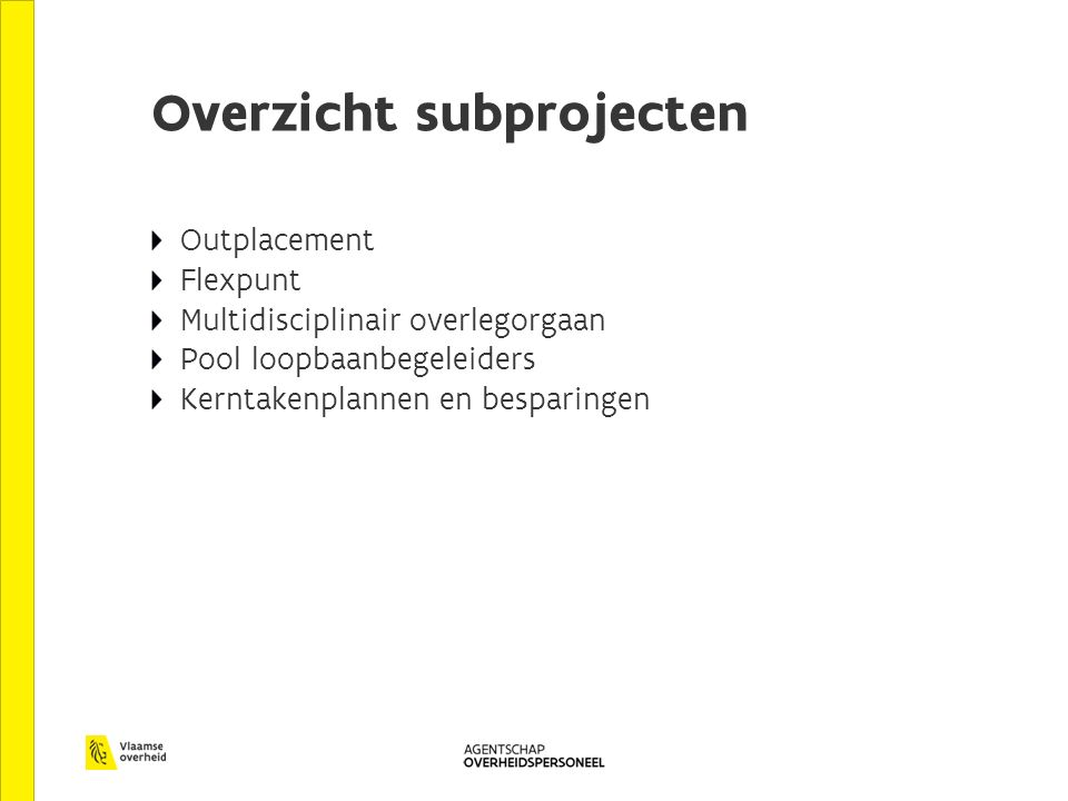 Overzicht subprojecten