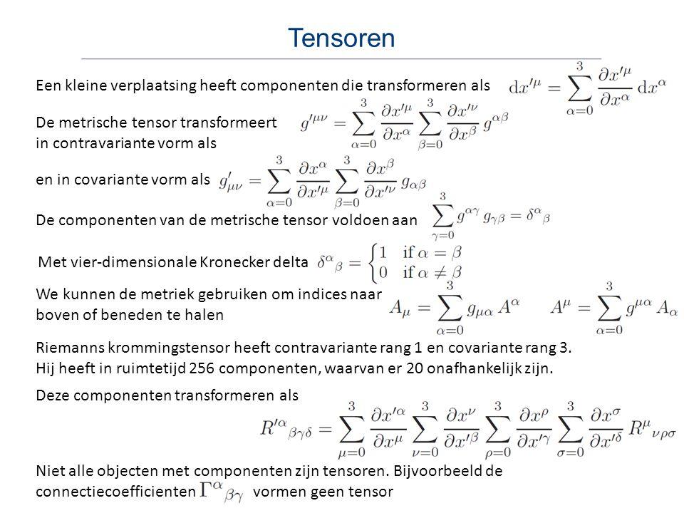 Tensoren Een kleine verplaatsing heeft componenten die transformeren als. De metrische tensor transformeert in contravariante vorm als.