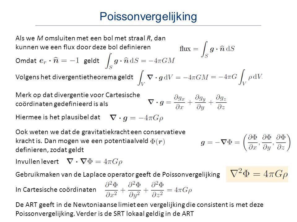 Poissonvergelijking Als we M omsluiten met een bol met straal R, dan kunnen we een flux door deze bol definieren.