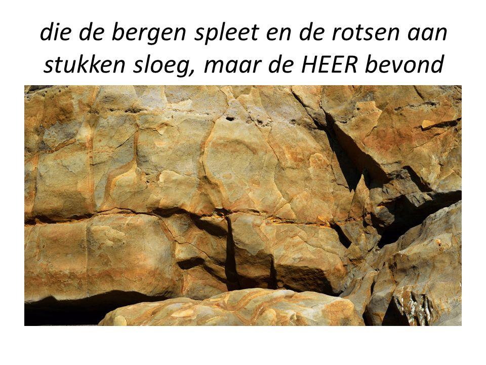 die de bergen spleet en de rotsen aan stukken sloeg, maar de HEER bevond zich niet in die windvlaag.