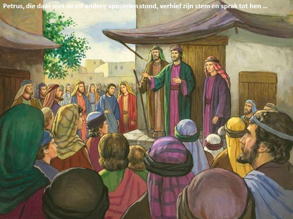 Petrus, die daar met de elf andere apostelen stond, verhief zijn stem en sprak tot hen …