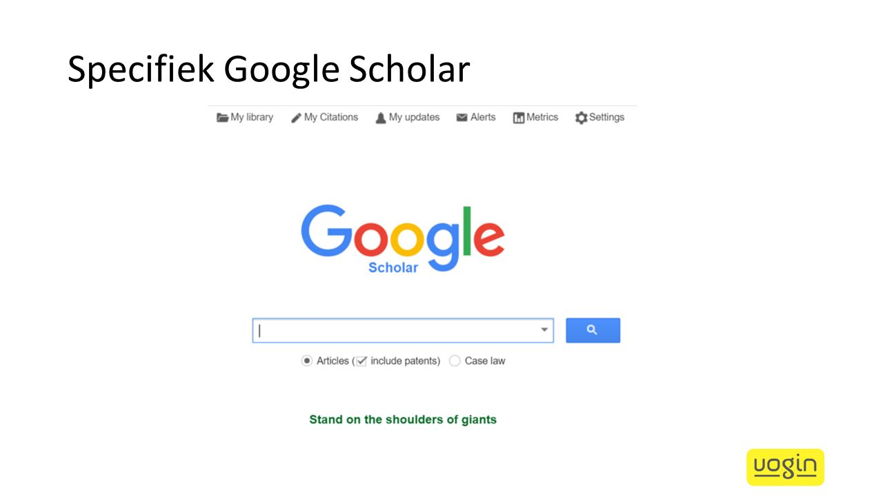 Specifiek Google Scholar