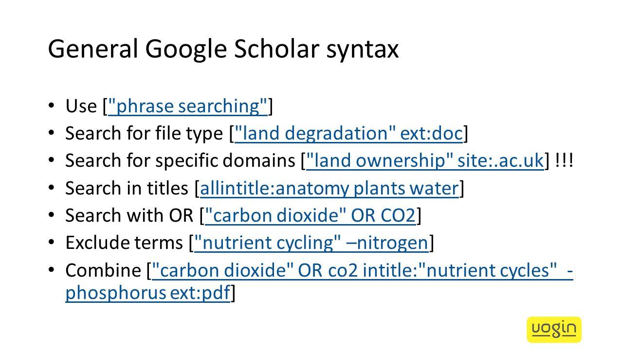 General Google Scholar syntax