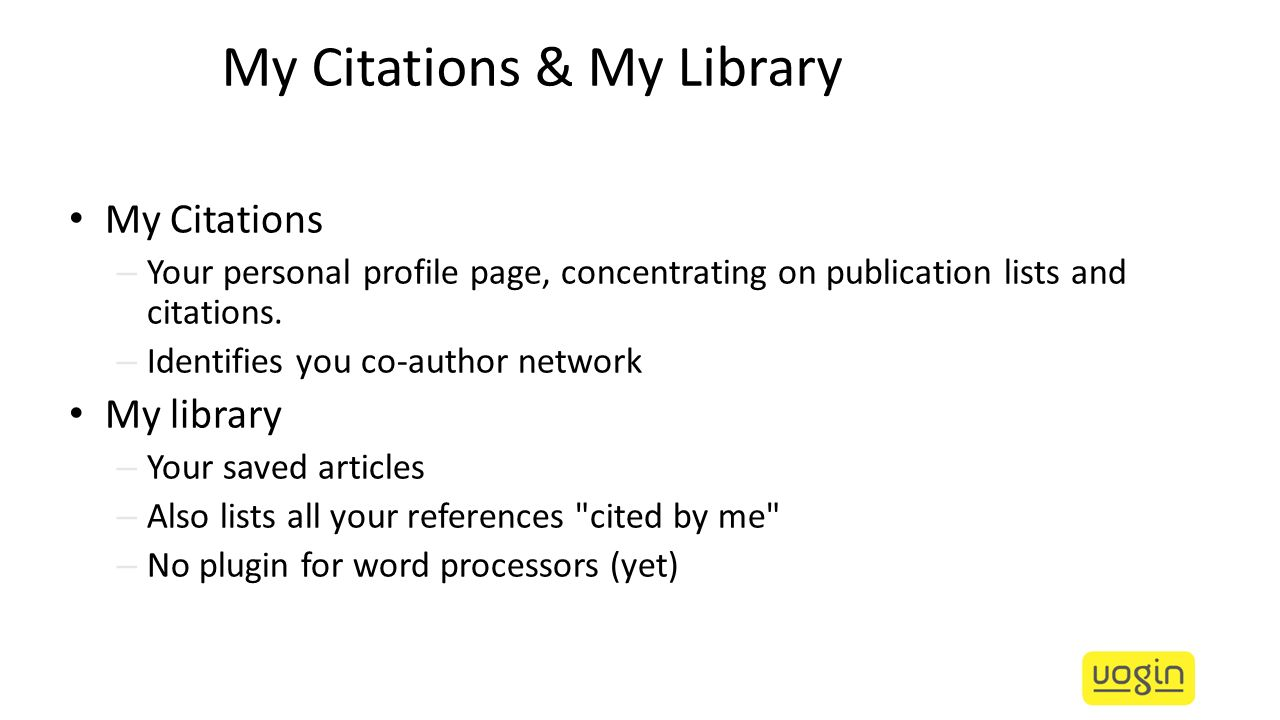 My Citations & My Library