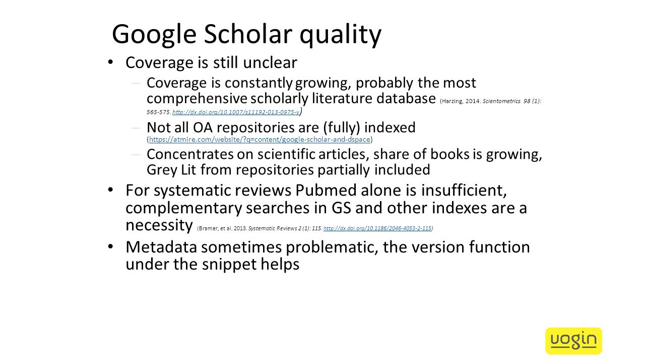 Google Scholar quality