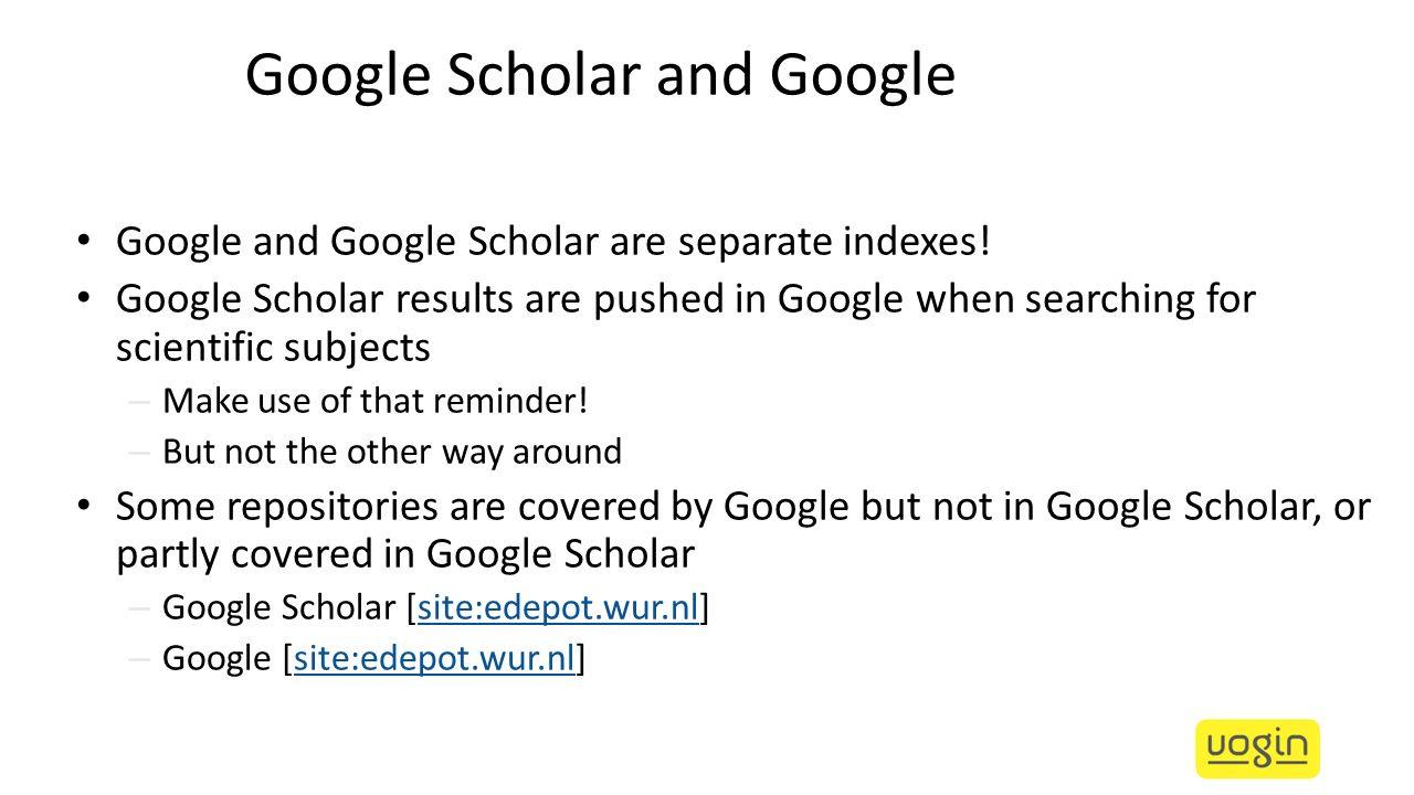 Google Scholar and Google