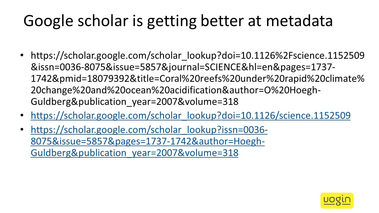 Google scholar is getting better at metadata