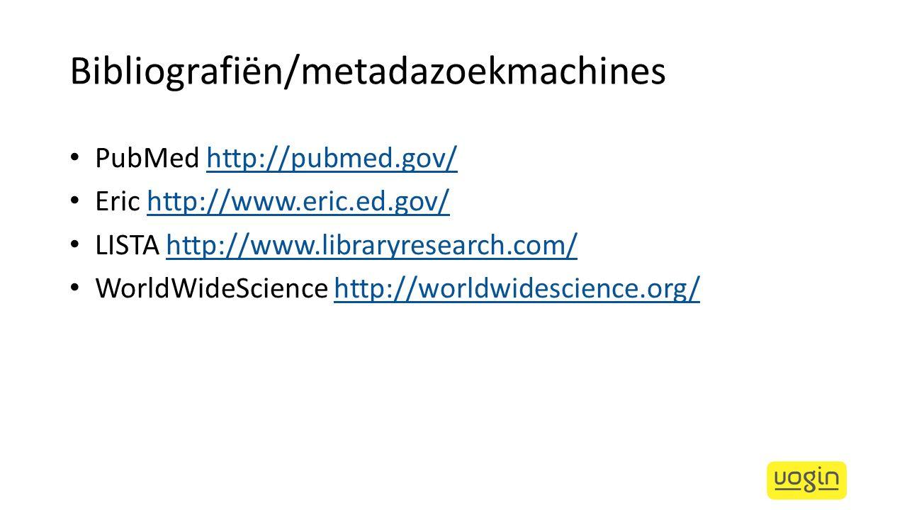 Bibliografiën/metadazoekmachines