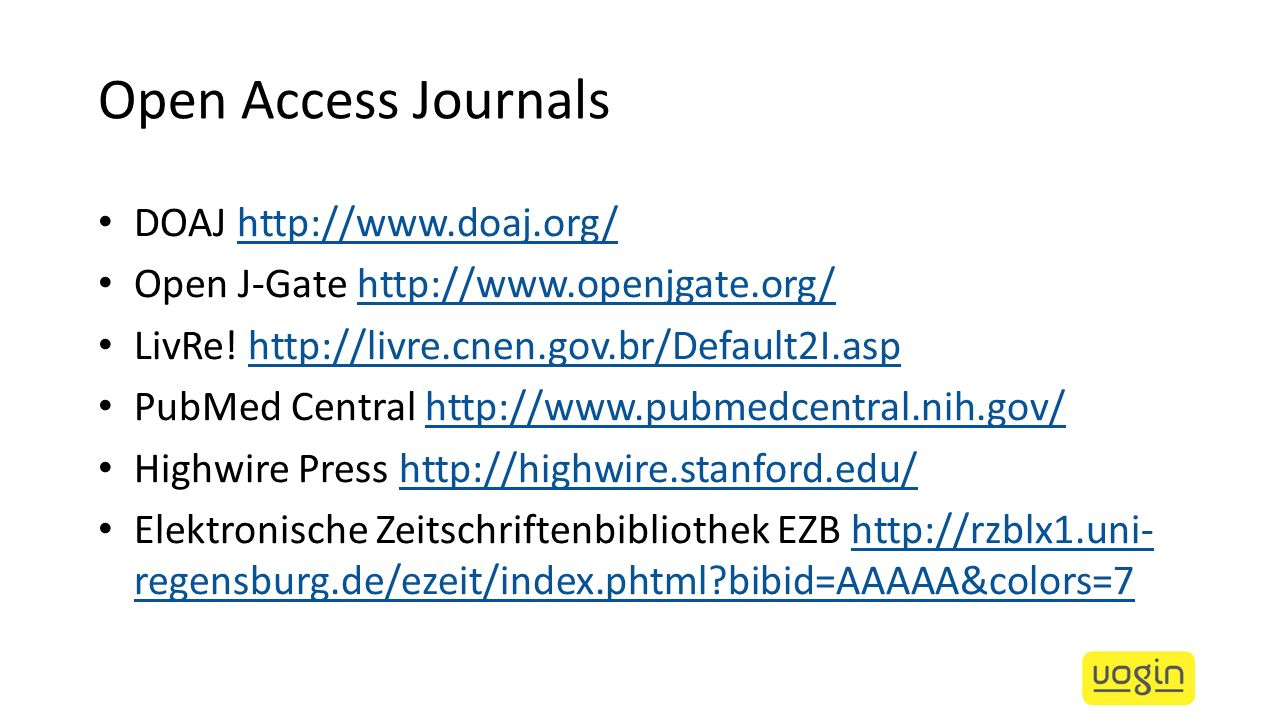 Open Access Journals DOAJ http://www.doaj.org/
