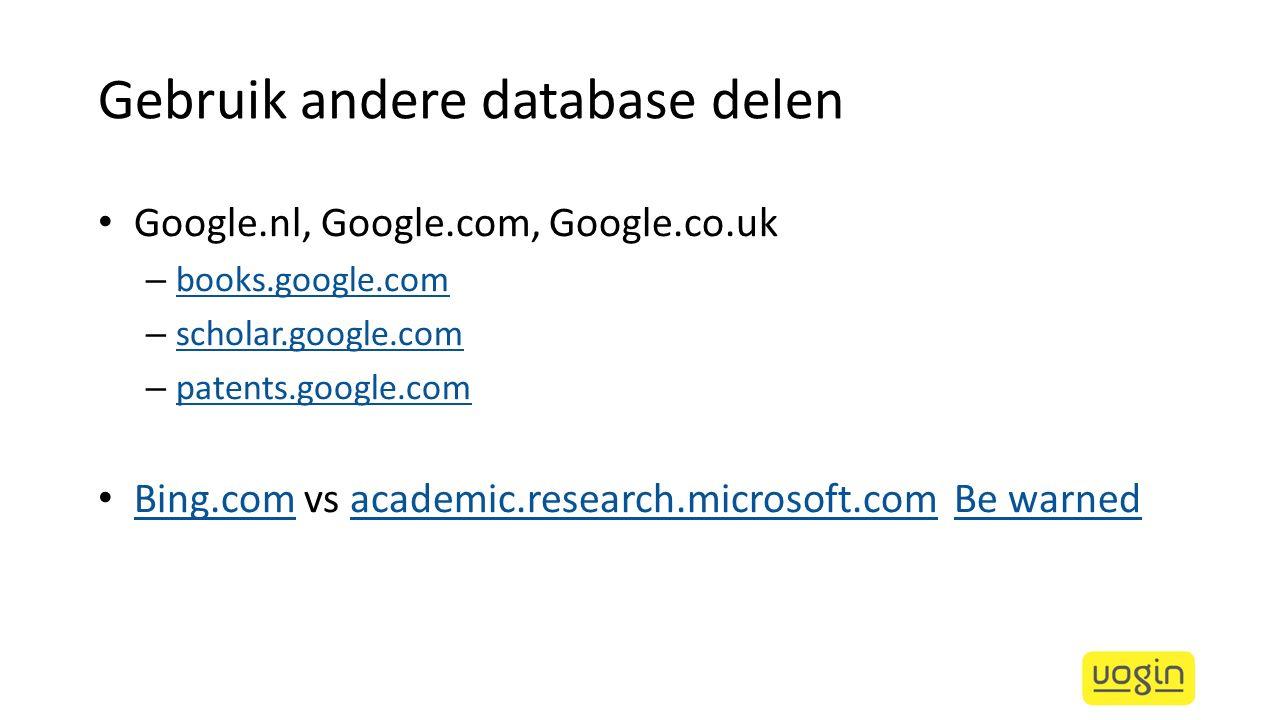 Gebruik andere database delen