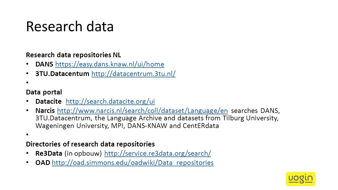 Research data Research data repositories NL