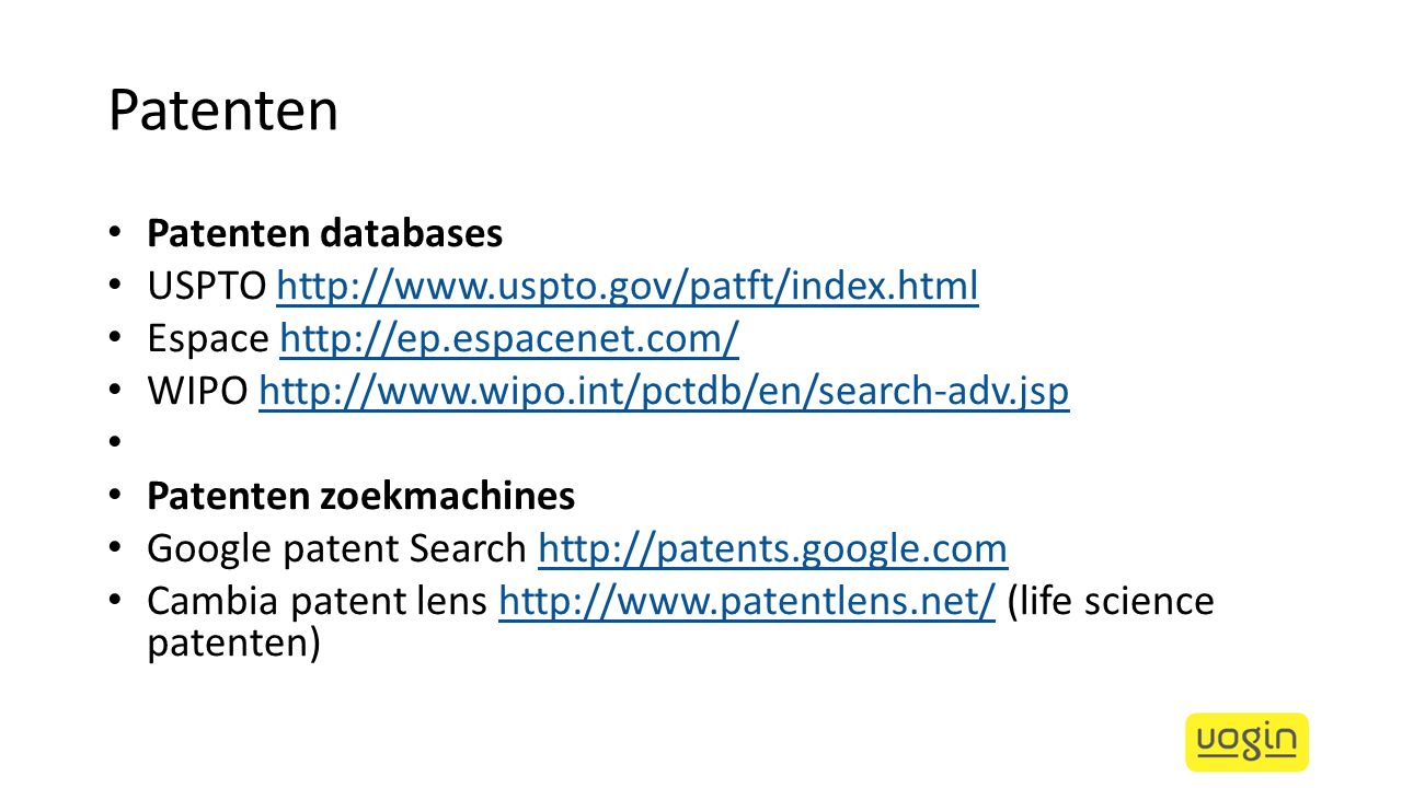 Patenten Patenten databases