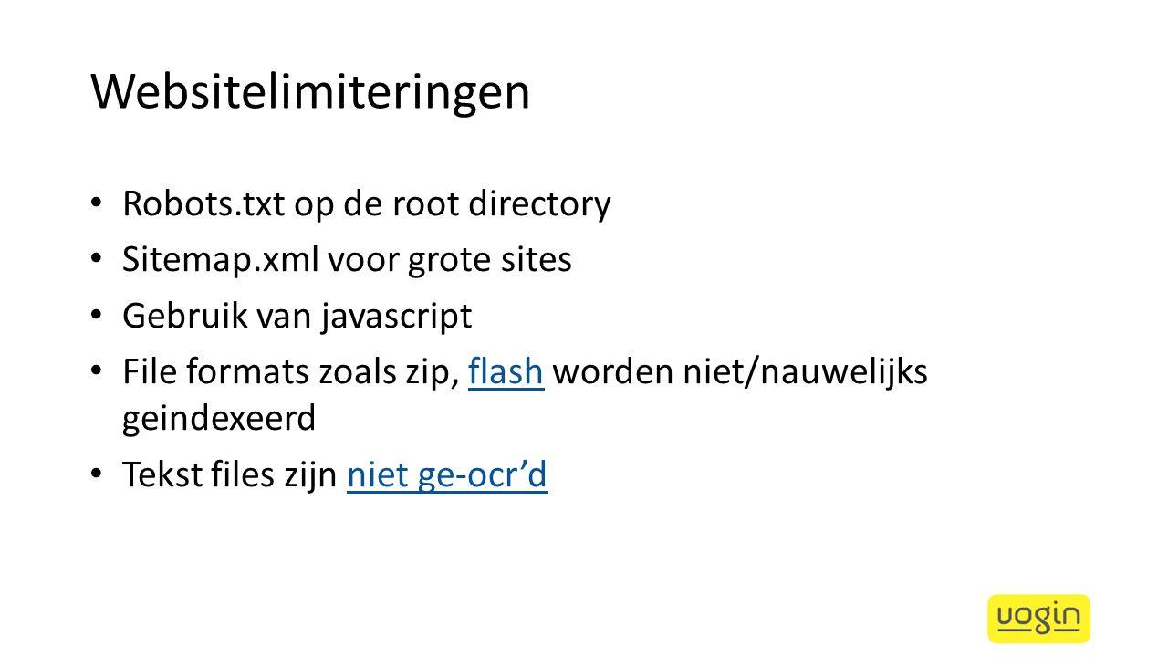 Websitelimiteringen Robots.txt op de root directory
