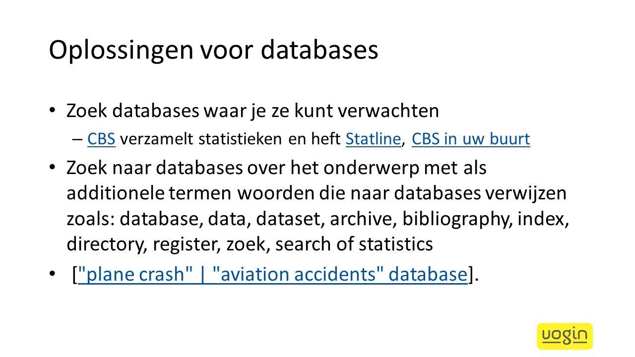 Oplossingen voor databases