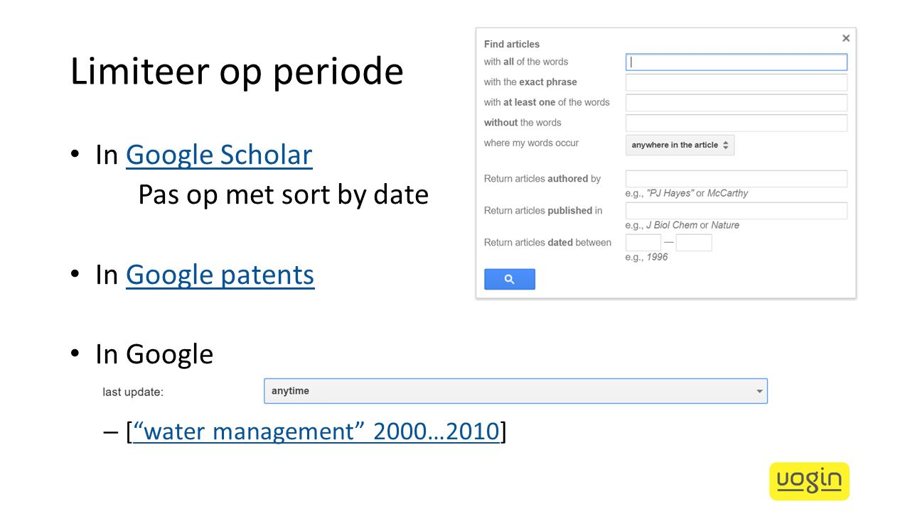 Limiteer op periode In Google Scholar Pas op met sort by date