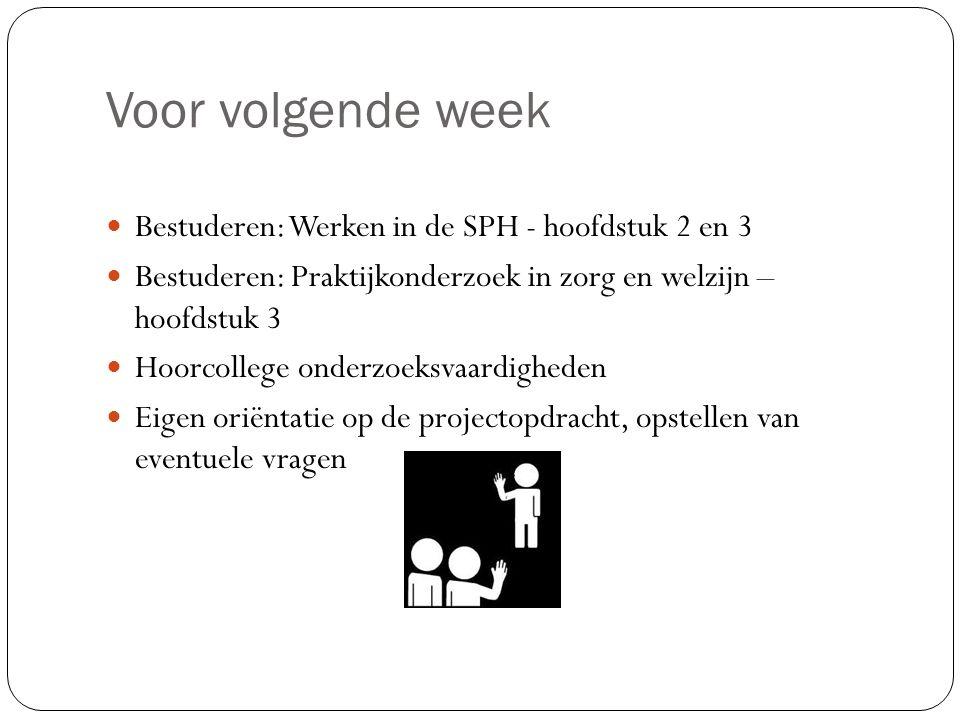 Voor volgende week Bestuderen: Werken in de SPH - hoofdstuk 2 en 3