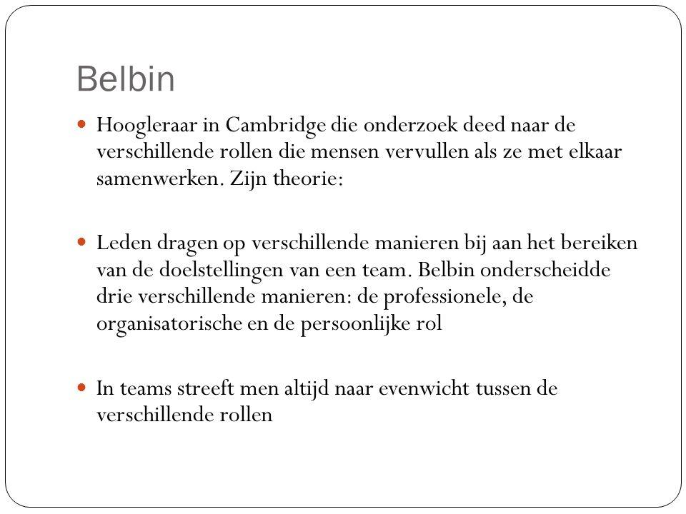 Belbin Hoogleraar in Cambridge die onderzoek deed naar de verschillende rollen die mensen vervullen als ze met elkaar samenwerken. Zijn theorie: