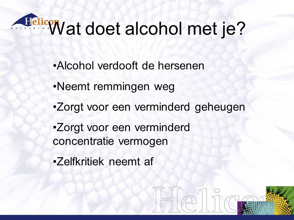Wat doet alcohol met je Alcohol verdooft de hersenen