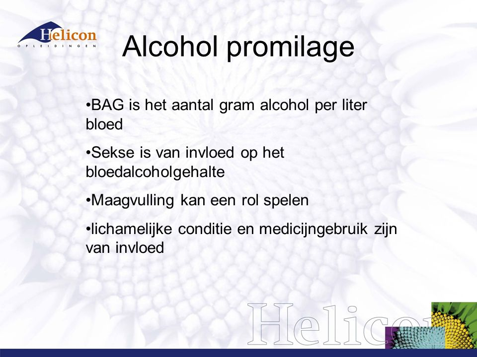 Alcohol promilage BAG is het aantal gram alcohol per liter bloed