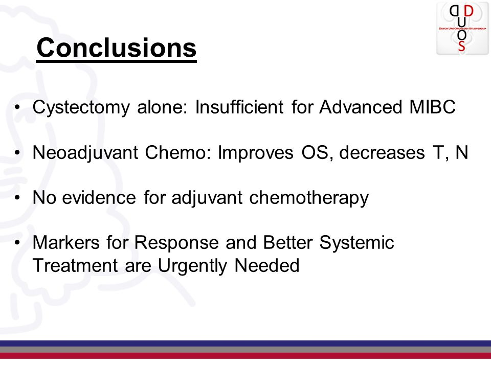 Conclusions Cystectomy alone: Insufficient for Advanced MIBC