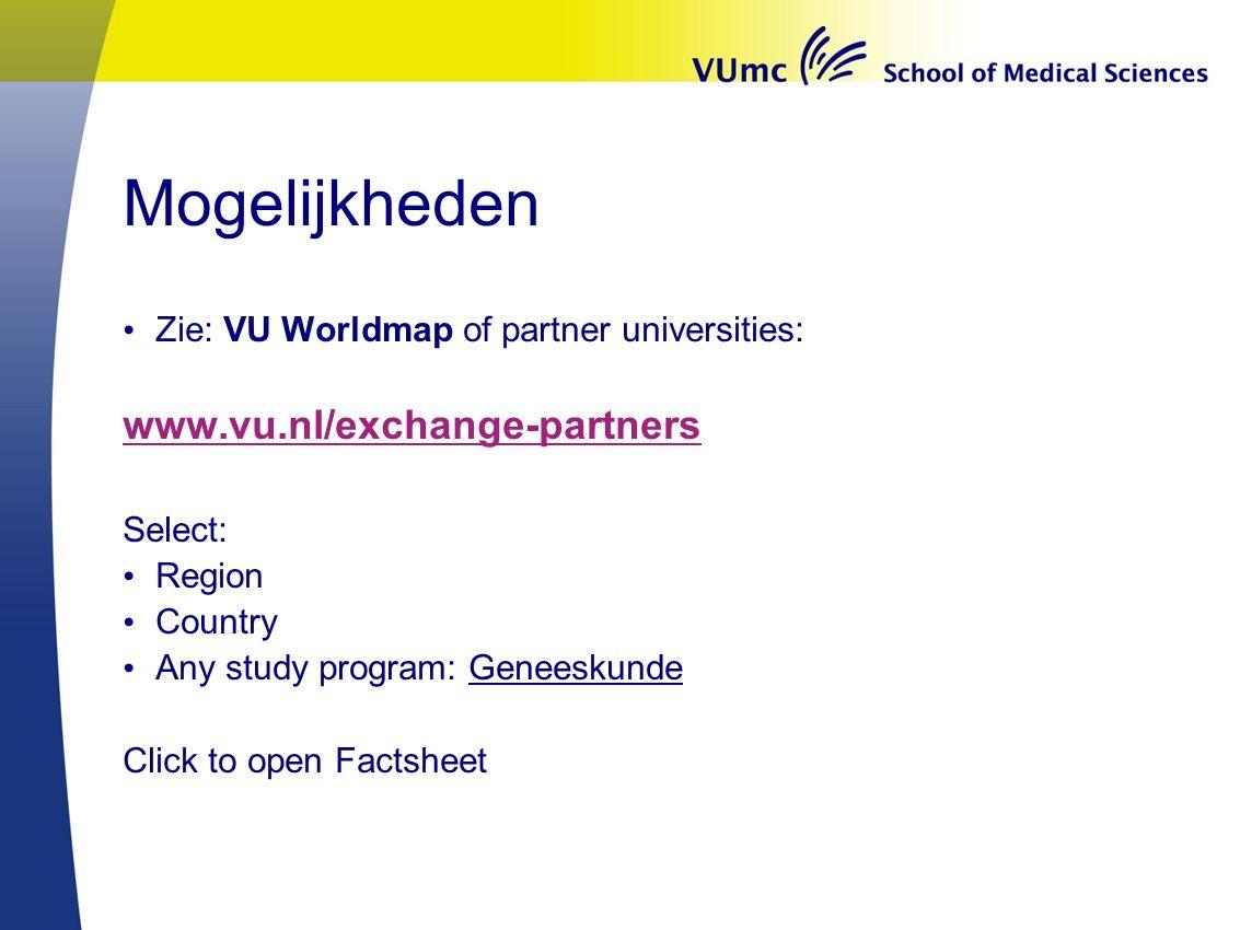 Mogelijkheden www.vu.nl/exchange-partners