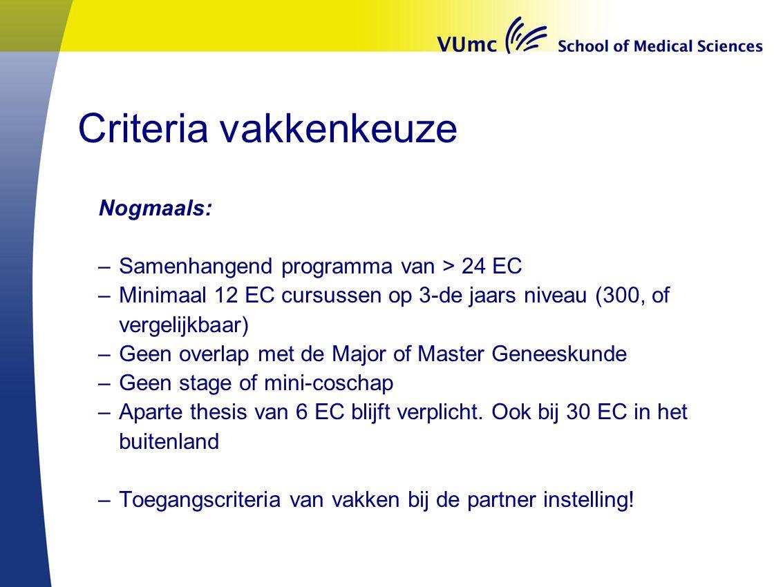 Criteria vakkenkeuze Nogmaals: Samenhangend programma van > 24 EC