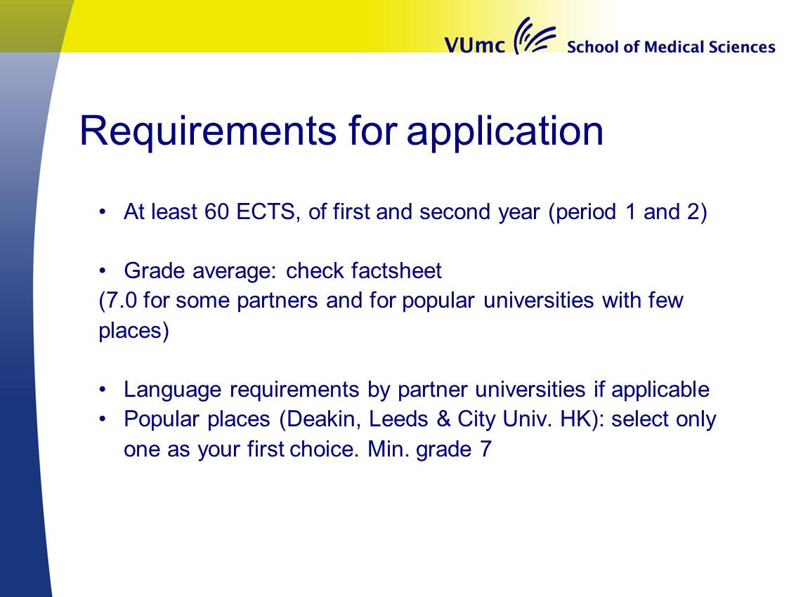 Requirements for application