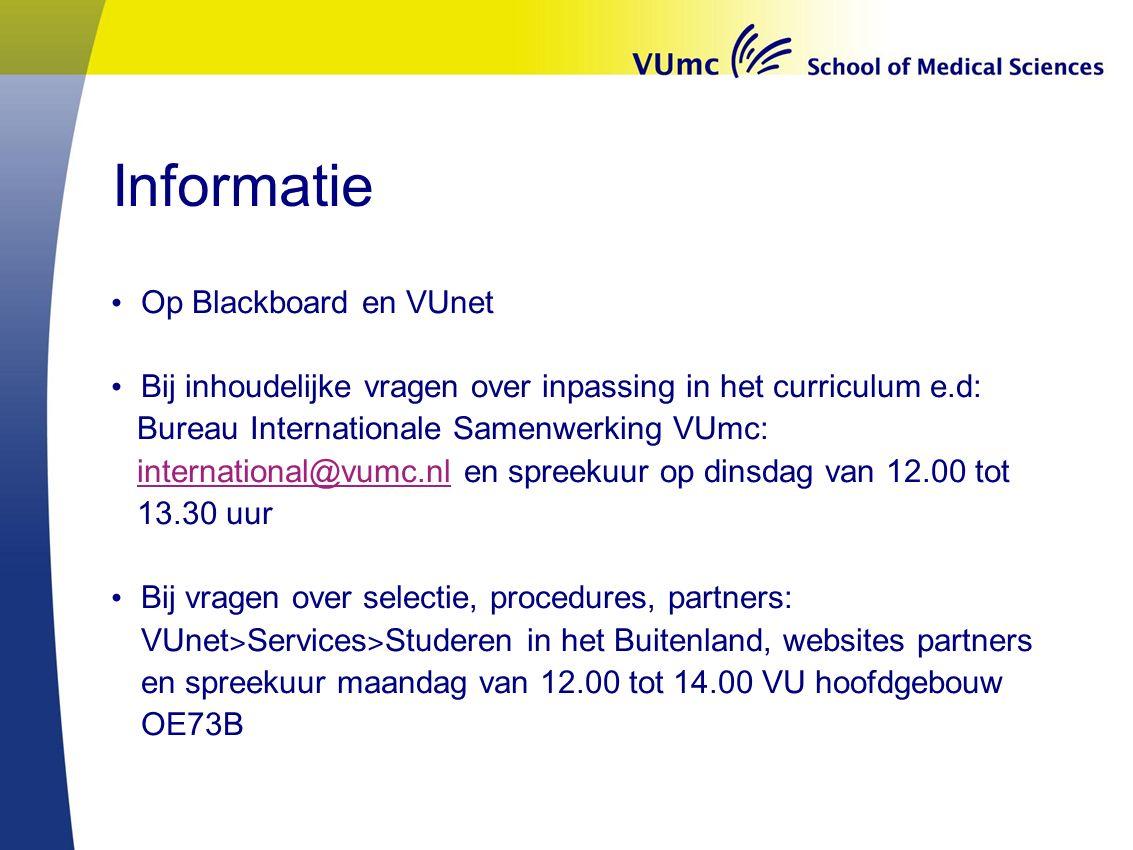 Informatie Op Blackboard en VUnet