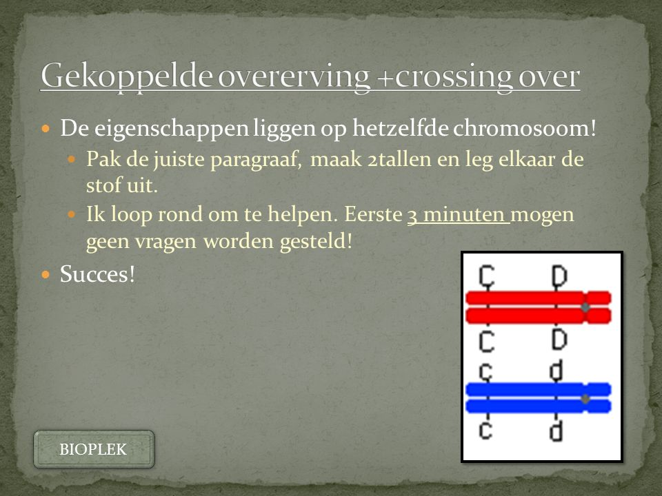 Gekoppelde overerving +crossing over