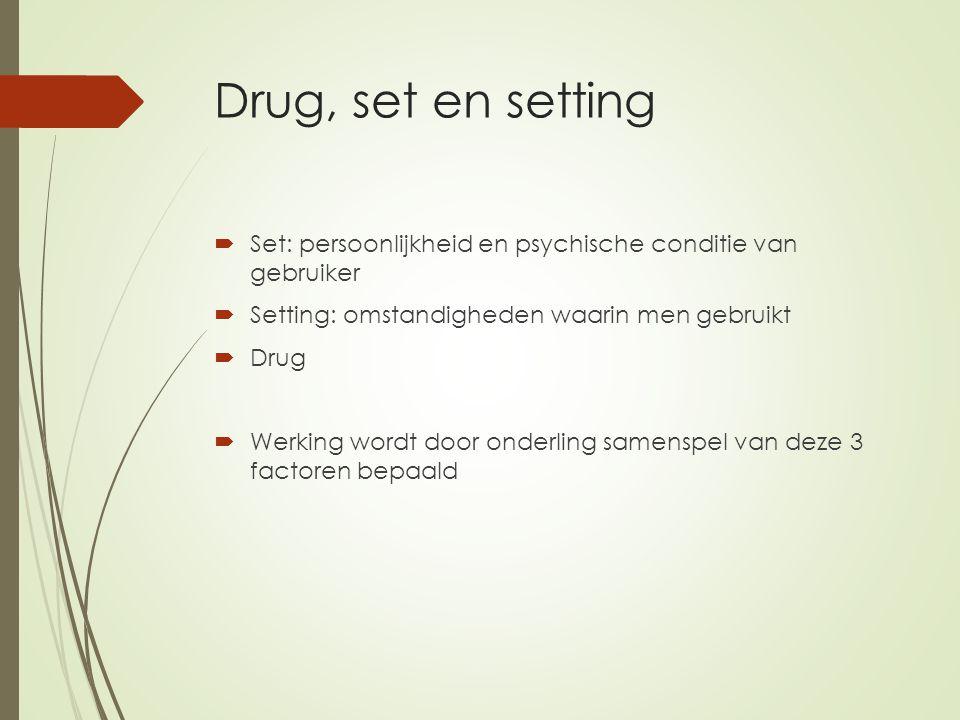 Drug, set en setting Set: persoonlijkheid en psychische conditie van gebruiker. Setting: omstandigheden waarin men gebruikt.