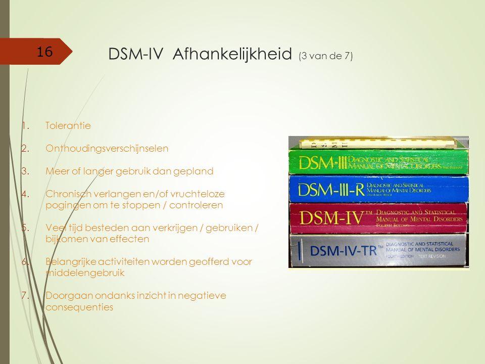 DSM-IV Afhankelijkheid (3 van de 7)