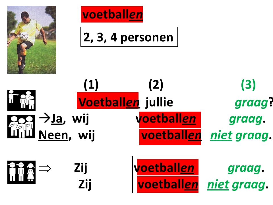 voetballen (1) (2) (3) 2, 3, 4 personen Voetballen jullie graag