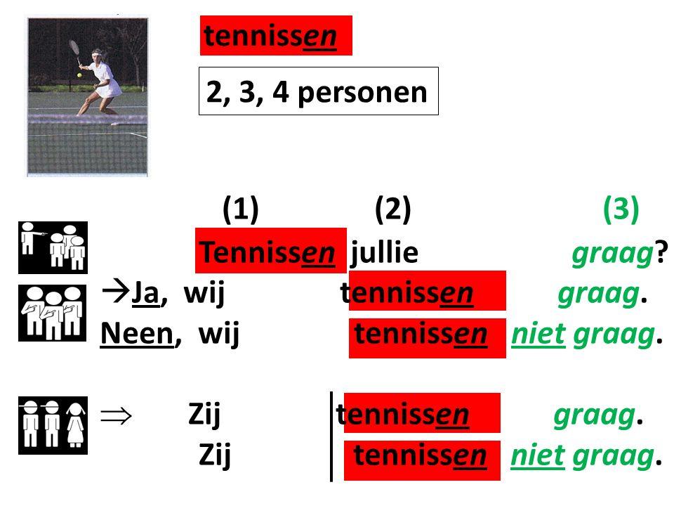 tennissen (1) (2) (3) 2, 3, 4 personen Tennissen jullie graag