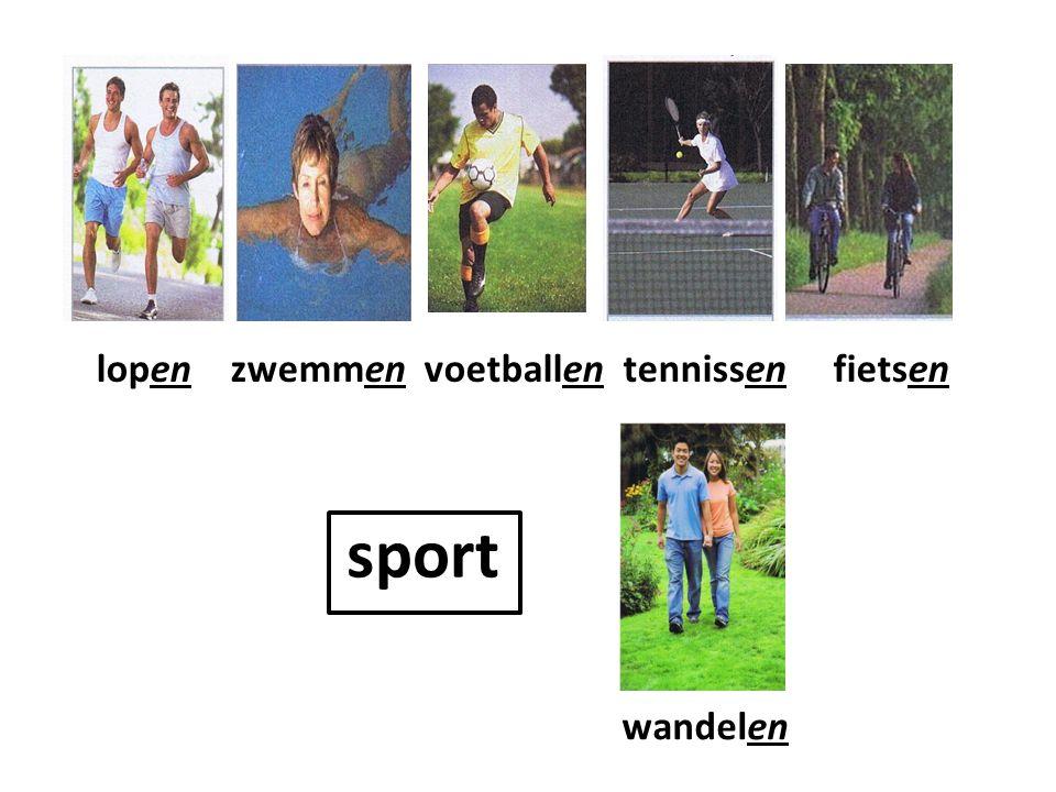 lopen zwemmen voetballen tennissen fietsen