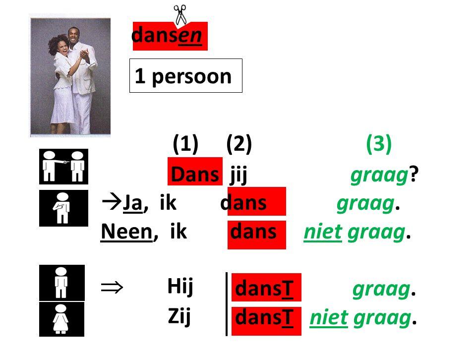 dansen (1) (2) (3) 1 persoon Dans jij graag Ja, ik dans graag.