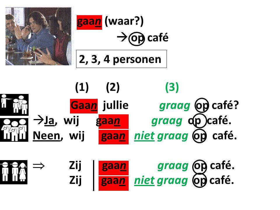 gaan (waar ) (1) (2) (3) Gaan jullie graag op café  op café