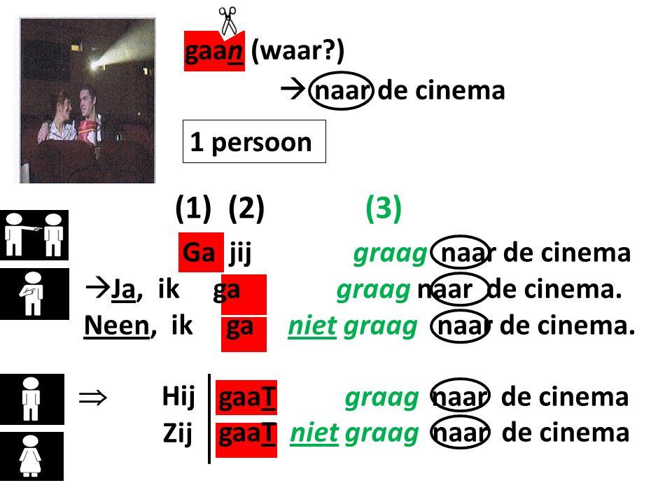 gaan (waar ) (1) (2) (3) Ga jij graag naar de cinema  naar de cinema