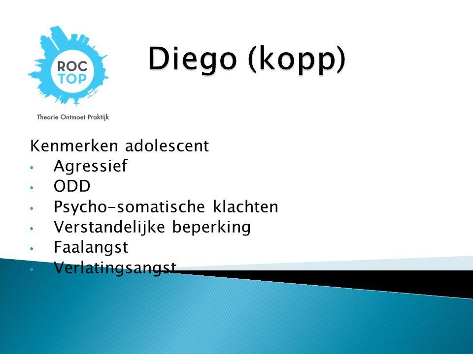 Diego (kopp) Kenmerken adolescent Agressief ODD