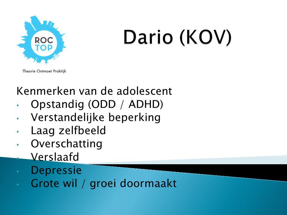 Dario (KOV) Kenmerken van de adolescent Opstandig (ODD / ADHD)